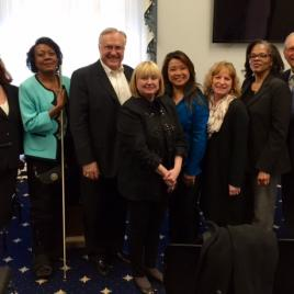 Left to right: Kelly Yarbrough, TRAN (Texas Rehab Action Network); Minnie Christal, former DARS Consumer; Greg Mason, TRAN President; Patricia Leahy, NRA Director of Government Affairs; Chelsea Nguyen, TRAN; Lori Lawson, TRA; Rochelle Owens, TRAN; Terry Smith, TRAN.