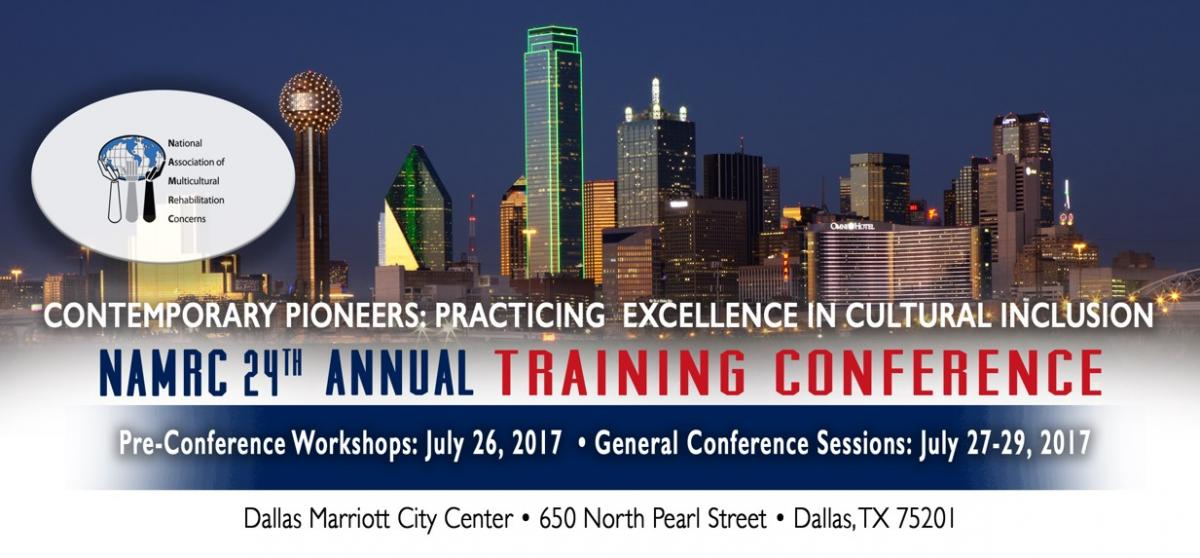 2017 24th Annual NAMRC Conference Logo and Header. Theme: Contemporary Pioneers: Practicing Excellence in Cultural Inclusion.  Conference takes place July 26th for Pre-Conference and July 27th to 29th for Conference.  Hotel is the Dallas Marriott City Center at 650 North Pearl Street, Dallas, TX 75201.