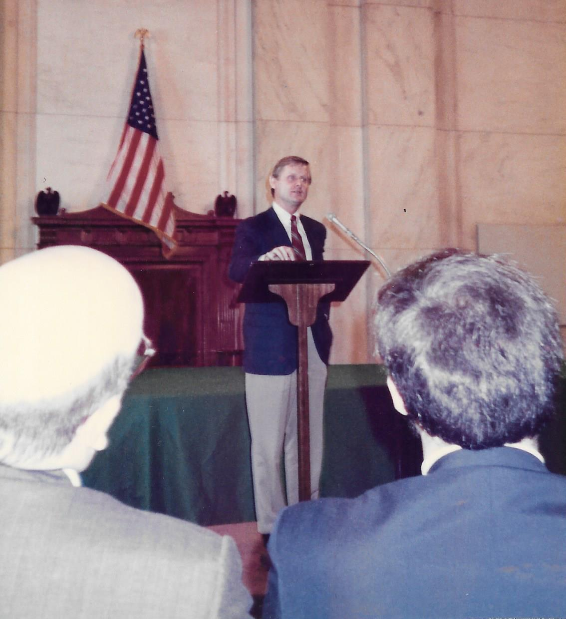 TX Congressman Steve Bartlett  speaking during ADA 1990
