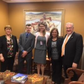 Denise Catalano, Jonathan Mize, Senator John Cornyn's Legislative Assistant Claire Sanderson, Cheryl Guido, and Greg Mason.