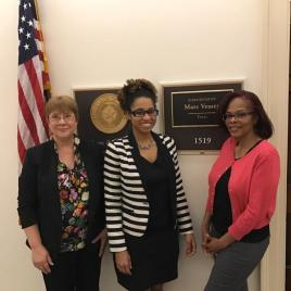 Denise Catalano, Congressman Marc Veasey's Legislative Assistant Nicole Varner, and Rochelle Owens.
