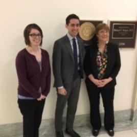 Crystal George, Congressman Michael Burgess' Legislative Assistant Seth Gold, and Denise Catalano (Photo by Greg Mason who also made this visit).